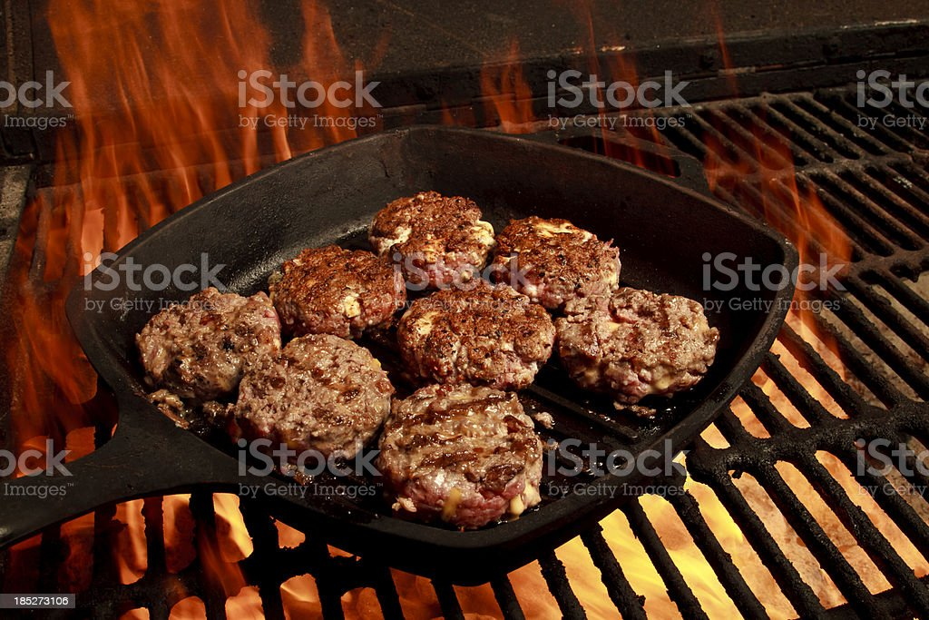 Sliders on a Grill stock photo
