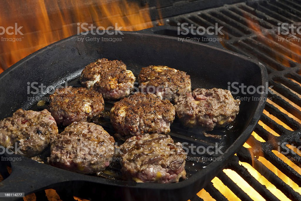 Sliders on Grill stock photo