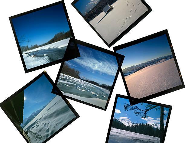 Diapositives 6 x 6 sur la visionneuse-scènes d'hiver - Photo