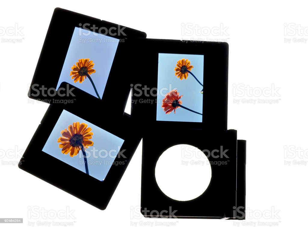Slides and magnifier II stock photo