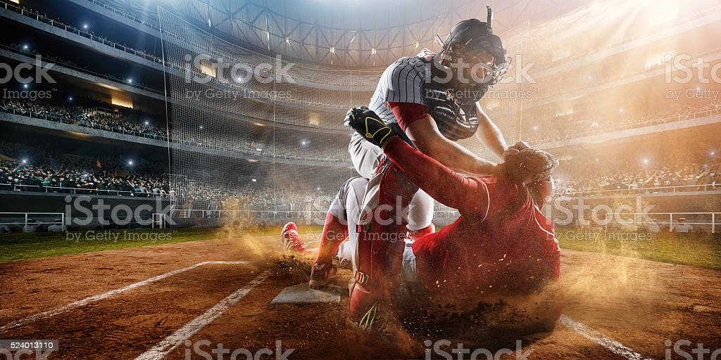 Sliding and tagging on base stock photo