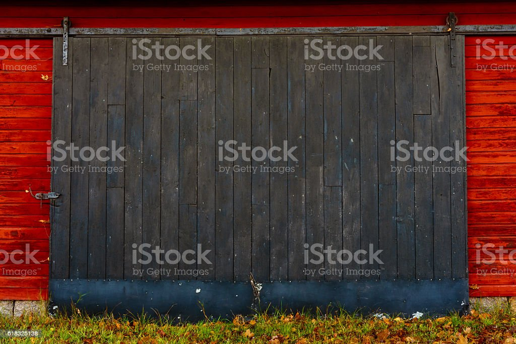 Sliding barn door stock photo