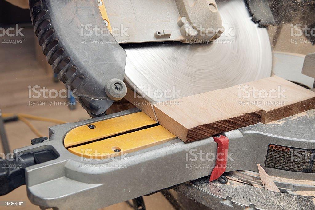Sliding Compound Miter Saw Cut Detail royalty-free stock photo
