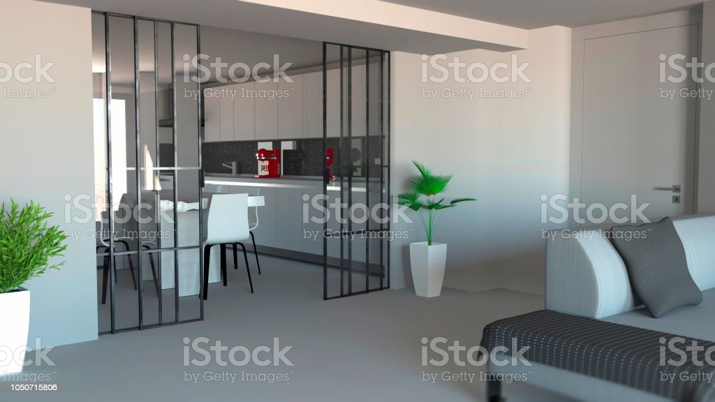 Sliding Door Living Room And Kitchen Partition Modern Apartment Entrance Industrial Style Stock Photo Download Image Now Istock