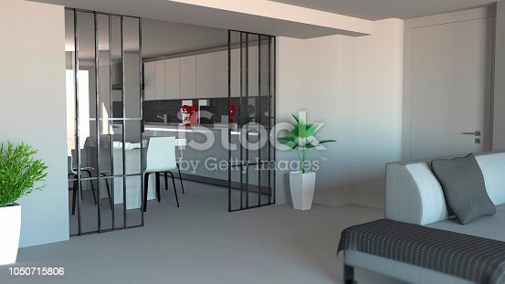 istock Sliding door, living room and kitchen partition, modern apartment entrance, industrial style 1050715806