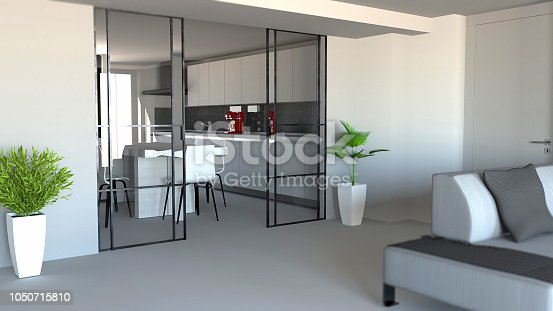 istock Sliding door, living room and kitchen partition, modern apartment entrance, industrial style 1050715810
