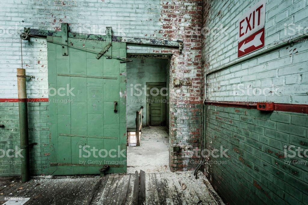 Sliding door with brick wall stock photo
