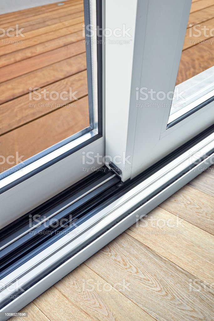 Sliding Glass Door Detail And Rail Embed In Floor Stock Photo More