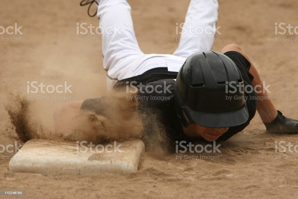 Sliding in to Base stock photo