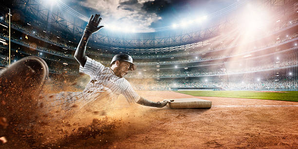 sliding on third base - sliding stock photos and pictures