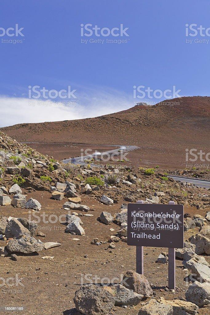 Sliding Sands trailhead sign, Maui, Hawaii royalty-free stock photo