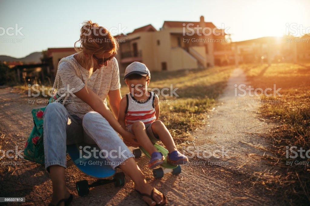 Sliding with my mom stock photo