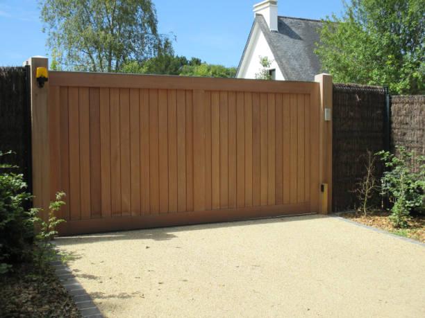 Cтоковое фото Sliding wooden door  Entrance door of the house