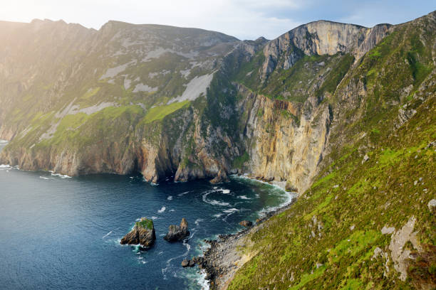 Slieve League, Irelands highest sea cliffs, located in south west Donegal along this magnificent costal driving route. One of the popular stops at Wild Atlantic Way route, Co Donegal, Ireland. stock photo