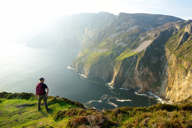 Slieve League, Irelands highest sea cliffs, located in south west Donegal along this magnificent costal driving route. stock photo