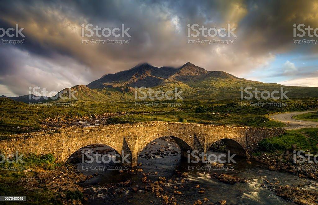 Sligachan Bridge and Cuillins stock photo