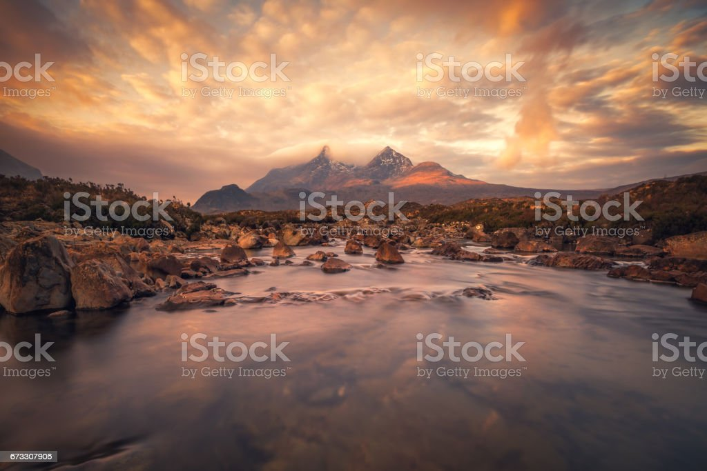 Sligachan view over Black Cuillin mountains, Isle of Skye, Scotland stock photo