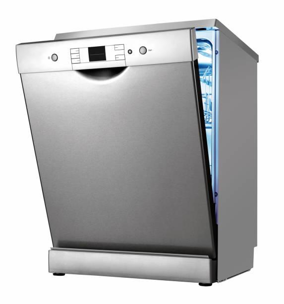 lavastoviglie isolato su bianco - bacinella metallica foto e immagini stock