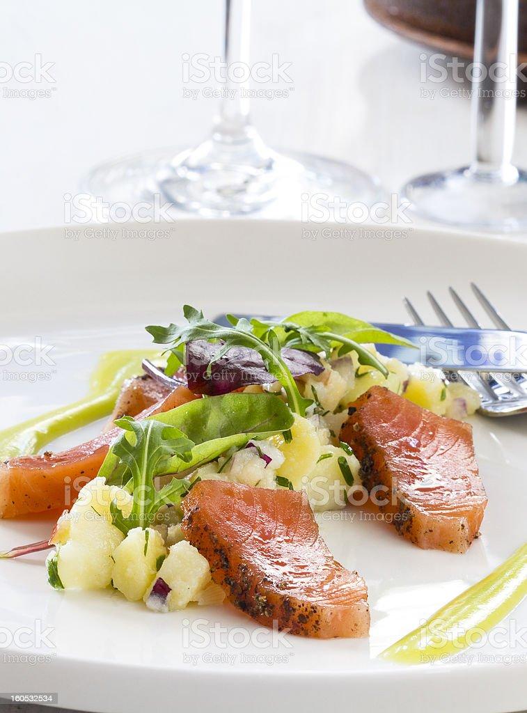 Slightly salted salmon stock photo