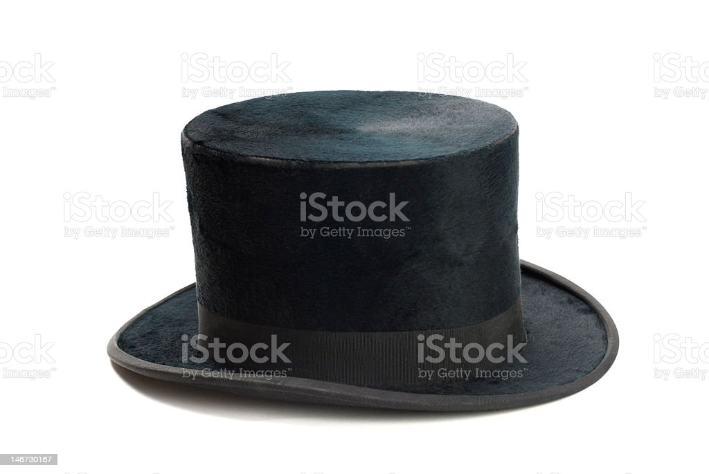 A slightly worn black felt top hat stock photo