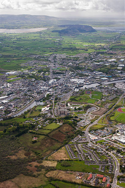 Sligo Town and Knockarea with Strandhill in the background stock photo