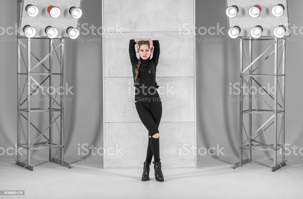 Slim Female Dancer. Vogue And Waacking Style stock photo