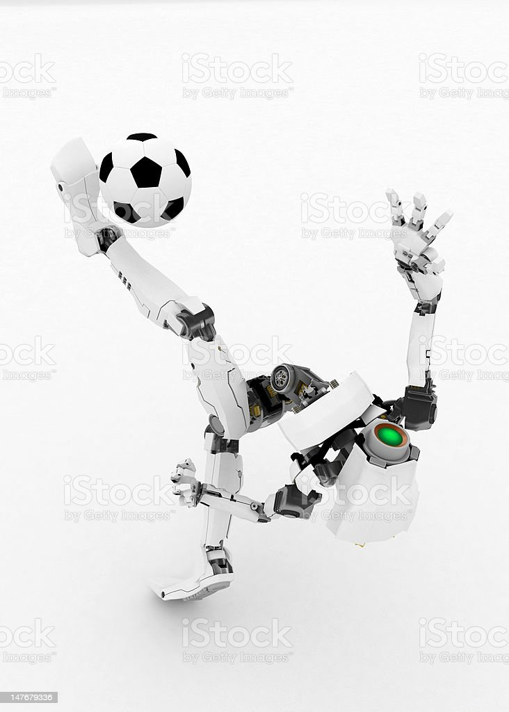 Slim Robot, Soccer Ball royalty-free stock photo