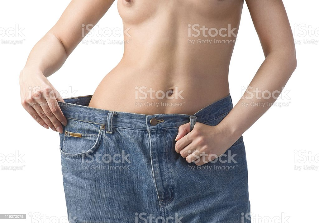 Slim waist. Girl's torso stock photo