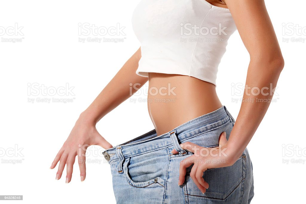 Slim woman after diet. royalty-free stock photo