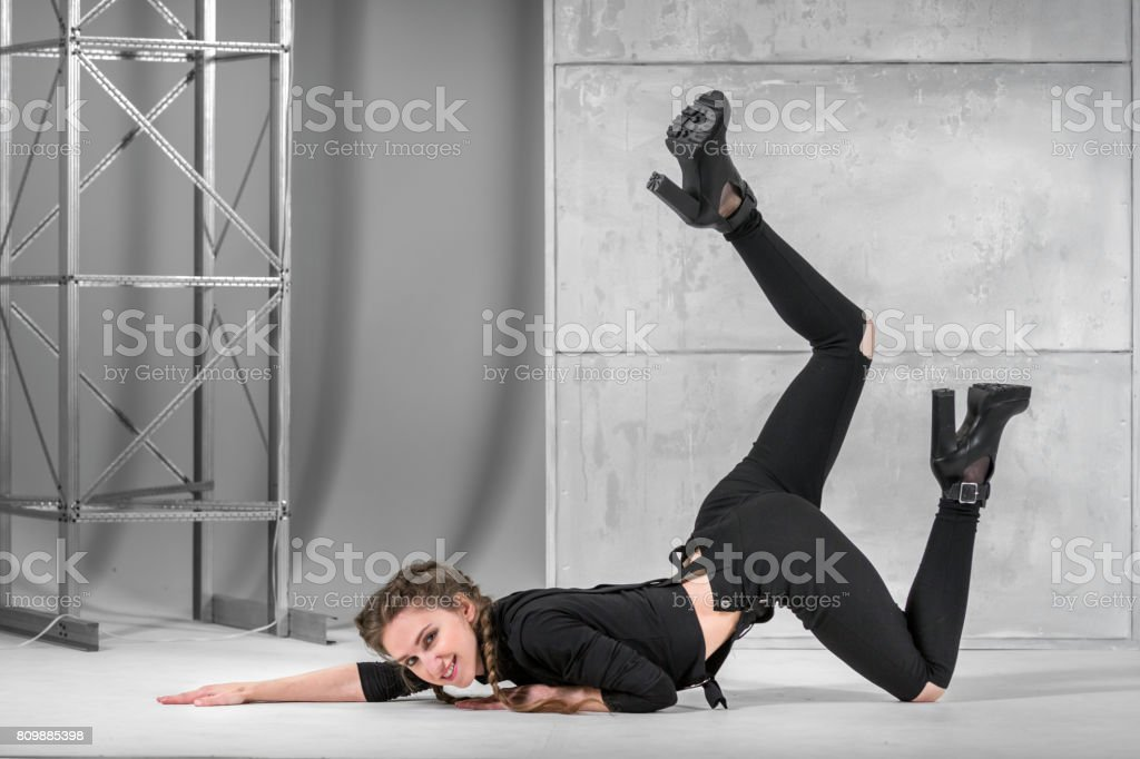 Slim Woman Dancing In Vogue Style stock photo