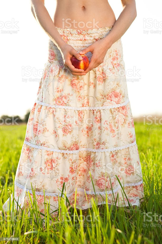 slim woman in long skirt royalty-free stock photo