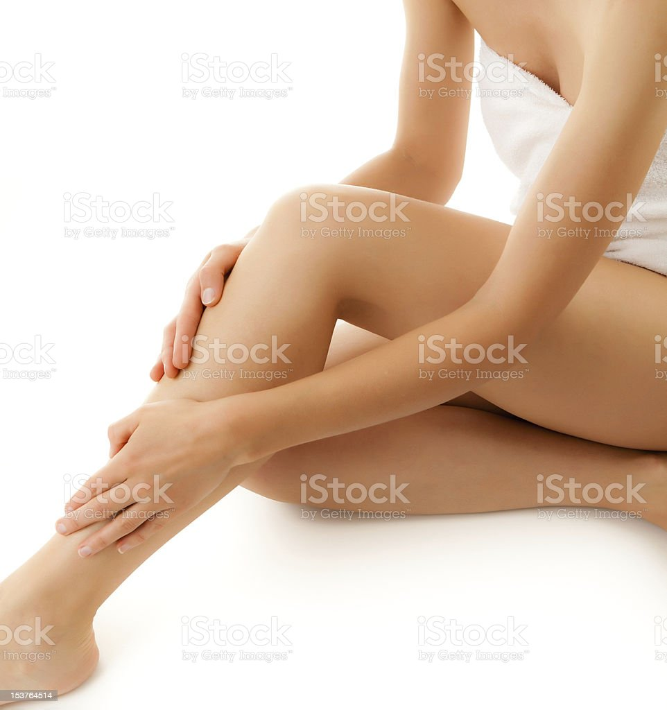 Slim woman on white background stock photo