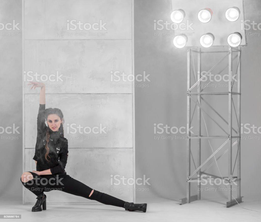 Slim Woman Showing Vogue Dance Pose stock photo