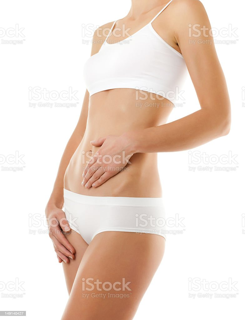 A slim woman wearing white underwear royalty-free stock photo