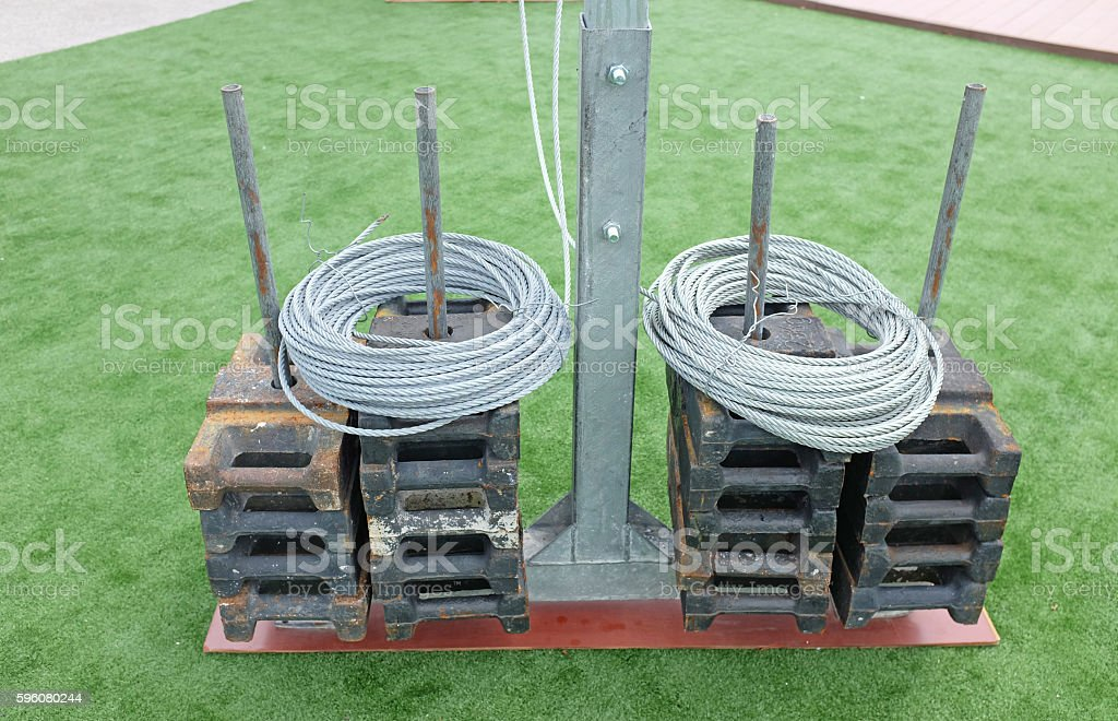 sling cable in roll against grass background royalty-free stock photo