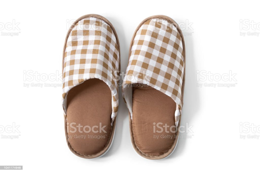 4b3100286cd Slippers And House Shoes On Isolated White Background Stock Photo ...