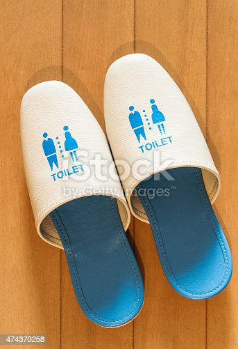 A pair of slippers for use in the toilet, often used in Japanese homes.