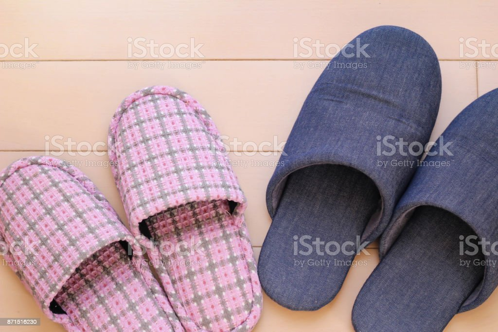 Slippers of different colors stock photo
