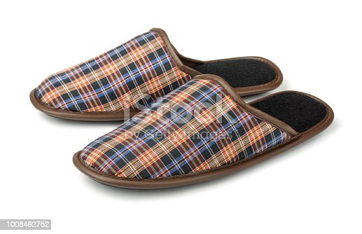 Plaid slippers isolated on white