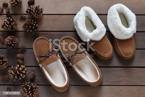 Slippers on the wooden floor