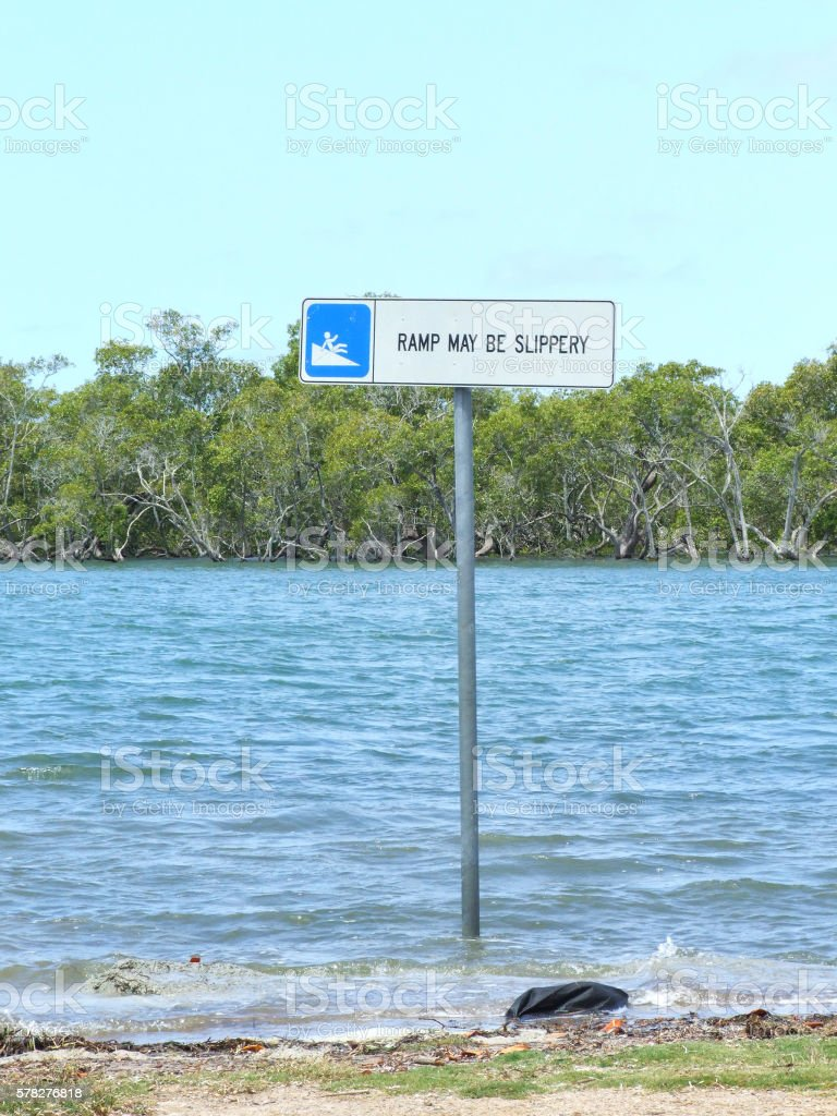 Slippery Boat Ramp Sign stock photo