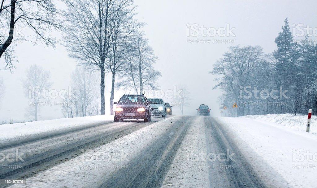 Slippery road stock photo