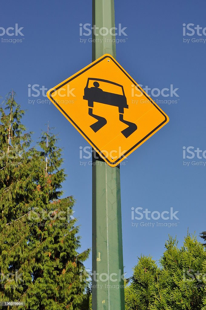 Slippery road sign royalty-free stock photo