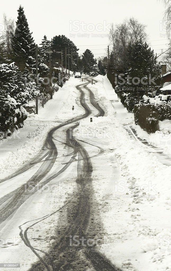 slippery tracks stock photo