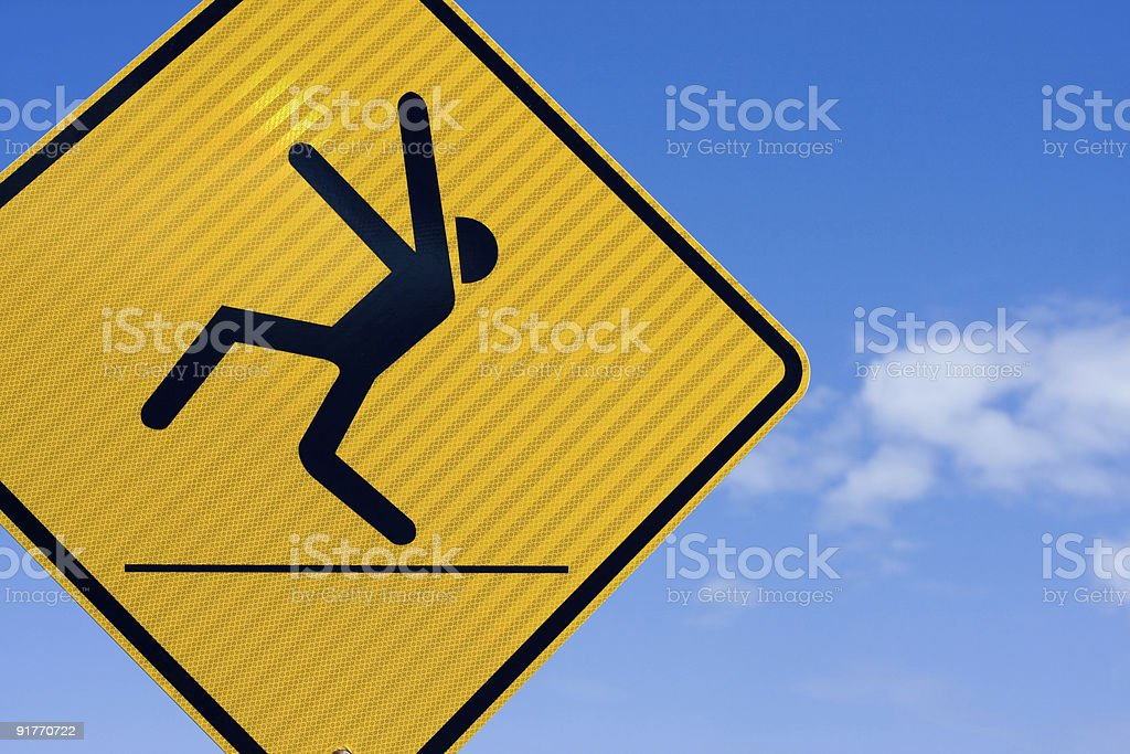 Slippery when wet or a dancing man. stock photo