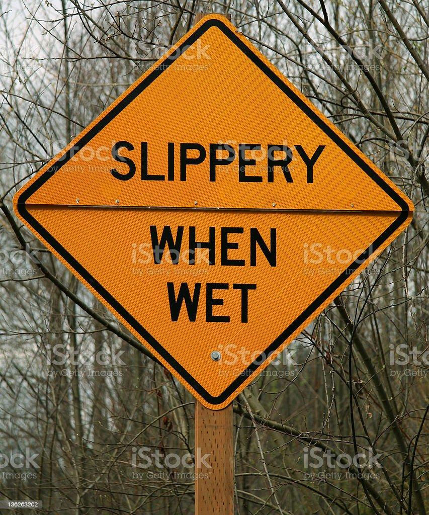 'Slippery when wet' stock photo