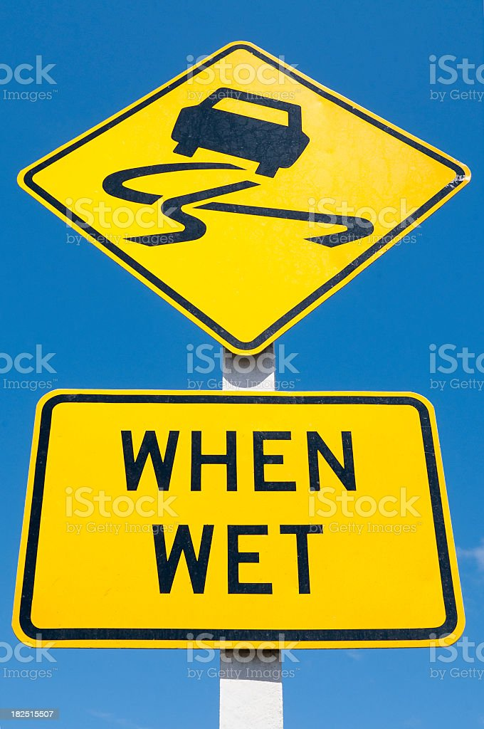 Slippery When Wet Sign royalty-free stock photo