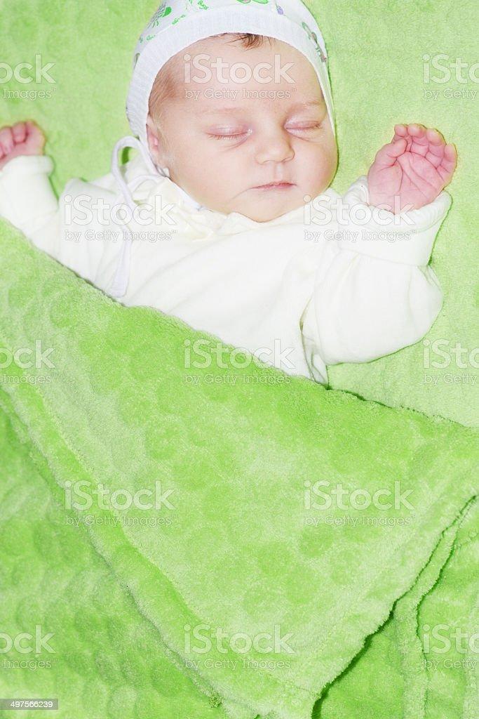 Slipping Newborn Baby Girl royalty-free stock photo