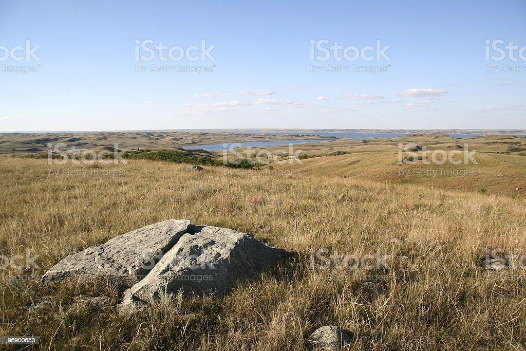 Slit Rock on Prairie royalty-free stock photo