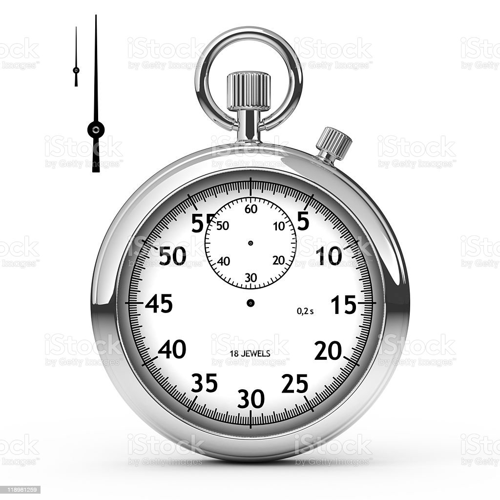 Sliver stopwatch with dial pins taken out stock photo